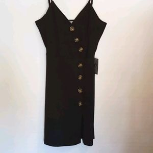 J for Justify Black Dress Buttons Thin Straps sz L